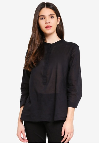 United Colors of Benetton black V neck Blouse 794B0AA3AB00A1GS_1