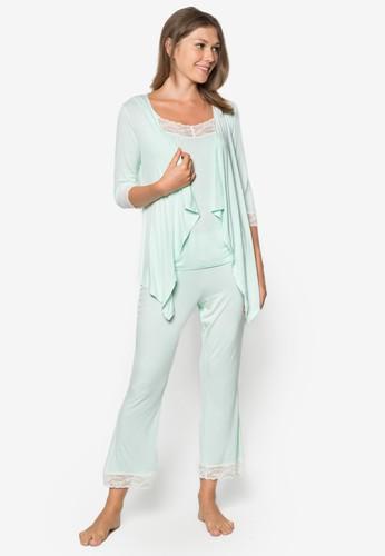 蕾絲拼接長褲睡衣套裝, 服飾,esprit 寢具 睡袍