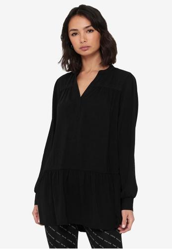 JACQUELINE DE YONG black Laura Long Sleeve Tunic Shirt 2D77FAAAAB8701GS_1