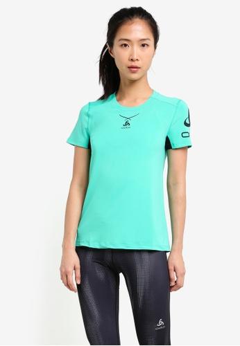 Odlo green Crew Neck Ceramicool Print Short Sleeve T-Shirt OD608AA0S11ZMY_1