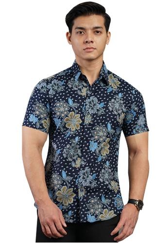 UA BOUTIQUE blue Short Sleeve Shirt Batik UASSB119-041 (Blue) ADA12AAA635206GS_1