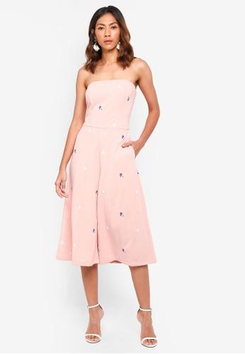 bYSI pink Printed Wide Leg Tube Jumpsuit F181DAA9D98C86GS_1
