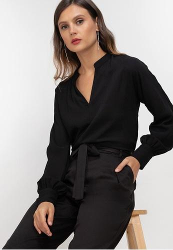 ZALORA WORK black Notch Neck Long Sleeve Blouse 77F91AA6F5BB02GS_1