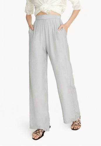 Pomelo grey Baggy High Waisted Pants - Light Grey 7AD63AA6D32964GS_1
