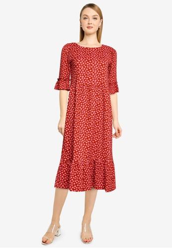 Miss Selfridge red Burgundy Spot Midi Dress A1BDFAA17B9571GS_1