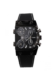 Oulm 3 Time Zone Sports Leather Military Army Watch