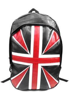 British Flag Leather Backpack