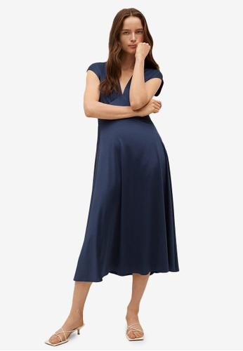 Mango blue V-Neck Satin Dress A959AAA02F6325GS_1