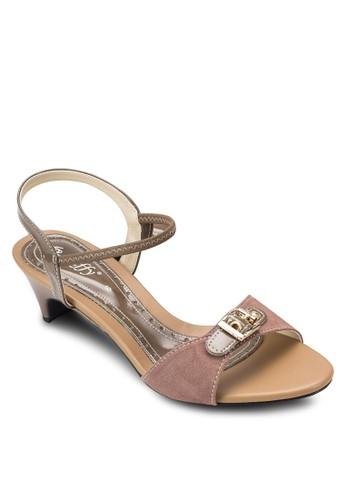 金飾仿麂皮繞踝低跟鞋, 女鞋,esprit 香港 細帶高跟鞋