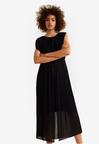 Mango black Pleated Long Dress 853C1AA108EBA0GS_1