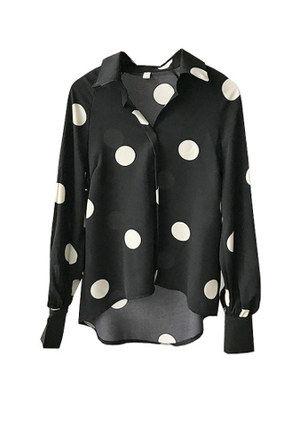 Twenty Eight Shoes black VANSA Polka Dots Print Long Sleeve Shirts  VCW-Sh3023 32371AA071B1F3GS_1