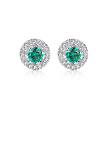 Glamorousky white 925 Sterling Silver Simply Brilliant Geometric Round Green Cubic Zirconia Stud Earrings C1421AC0C24019GS_1
