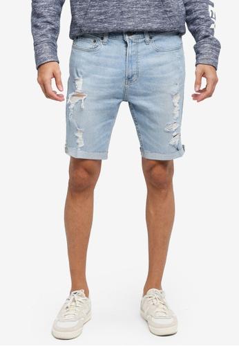 Hollister blue Skinny Fit Destroyed Denim Shorts CEDD4AAC9BA7A5GS_1
