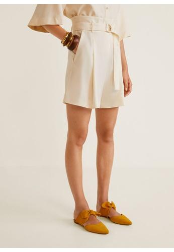 Mango beige Belt Soft Fabric Shorts 4FDAAAA767A154GS_1