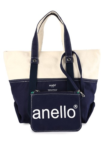 Anello multi and navy Cotton Canvas Mini Tote Bag D498EAC46BB143GS_1