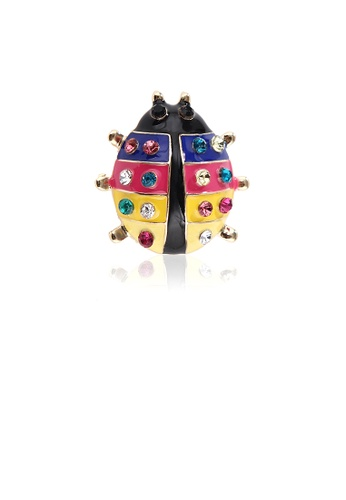 Glamorousky silver Fashion and Lovely Plated Gold Colorful Ladybug Brooch with Cubic Zirconia 966E4ACF3791DBGS_1