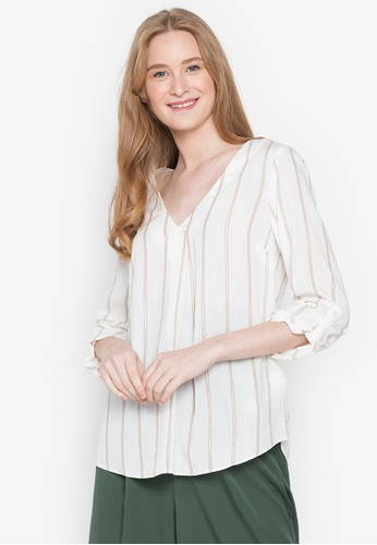 Springfield white Striped Fluid Blouse 459A4AA4E1457FGS_1
