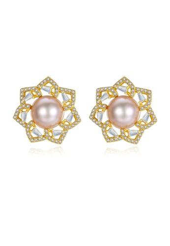 SUNRAIS gold Premium color stone golden flower earrings C5845AC26A3ACDGS_1