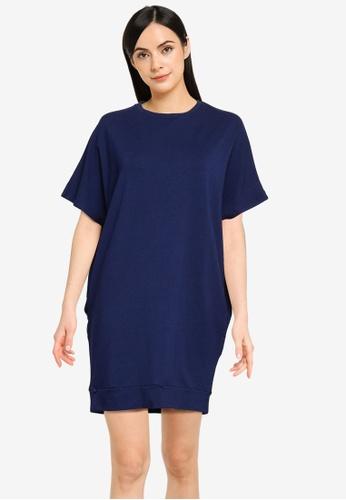 UniqTee blue Drape Short Sleeve Dress with Pocket 9A4ADAA62E5F9EGS_1