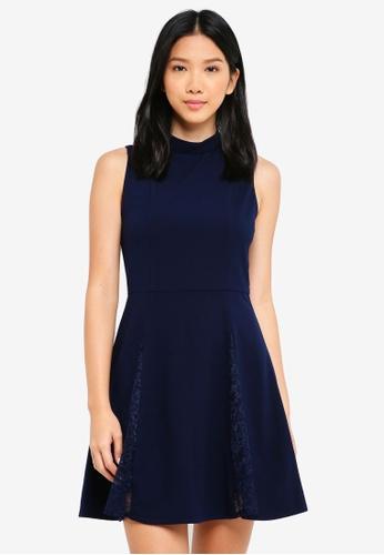 ZALORA navy Lace Godet Dress 61A22AA4F62B68GS_1