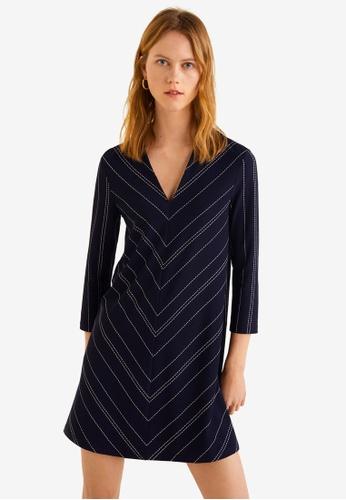Mango 藍色 條紋七分袖短洋裝 460E7AA73C8A3FGS_1
