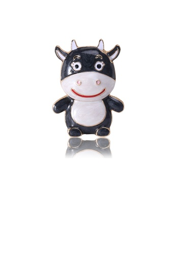 Glamorousky silver Simple and Cute Plated Gold Black Calf Brooch B1834AC53EEE53GS_1