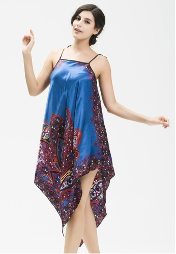 SMROCCO blue Elegant Ethnic Nightie Dress Sleepwear Lingerie L7016-BLU SM066US0RQY6MY_1