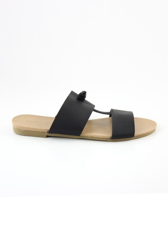 London Rag 黑色 London Rag女士黑色条带平底拖鞋 LO507SH0A4PRTW_1