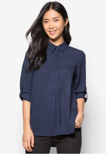Navy Collar Roll Sleevzalora 手錶e Shirt, 服飾, 襯衫