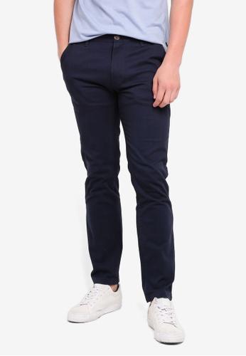 Burton Menswear London 海軍藍色 休閒修身長褲 A5A58AA5F3D0B5GS_1