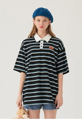 Twenty Eight Shoes Loose Contrast Stripe POLO Shirt HH0268 FEE9DAAD5A249AGS_1