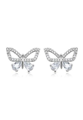 SO SEOUL silver Gabriella Butterfly Open Diamond Simulant Stud Earrings CB769AC09F12FDGS_1