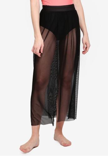 PINK N' PROPER black Daeun Mesh Slit Beach Skirt 12378USAD0DE6CGS_1