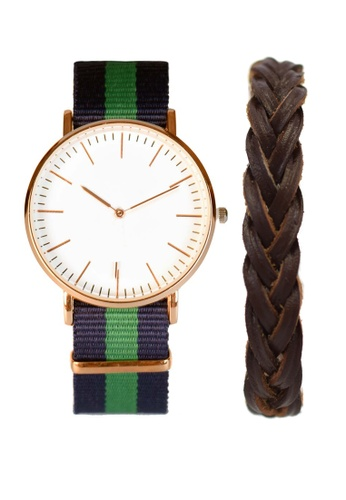 LEUPP green and blue Nato Watch And Bracelet Pack TO983AC83LZOPH_1