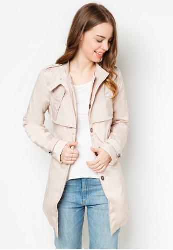 繫帶立領長版風衣, 服飾, 夾克 & 大esprit 台中衣