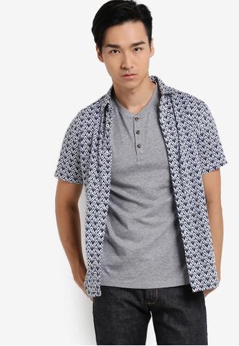 Burton Menswear London navy Navy Short Sleeve Ikat Print Shirt BU964AA61UHQMY_1