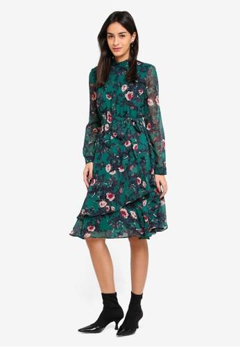 Vero Moda green Karen Long Sleeve Dress F5D36AA4DEDFE5GS_1