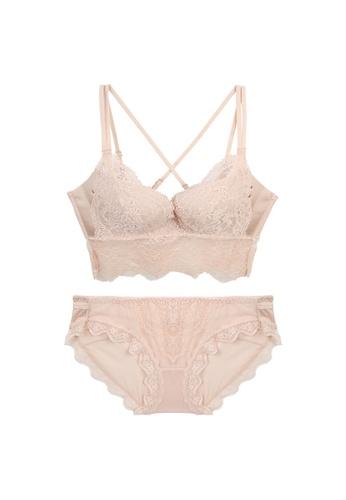 Midnight 米褐色 Premium Lace Beige Lingerie Set (Bra and Underwear) 16457USB651B8CGS_1