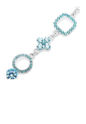 Glamorousky blue Fancy Graph-Mix Bracelet with Sky Blue CZ and Austrian Element Crystals 23E6BAC003CF71GS_1