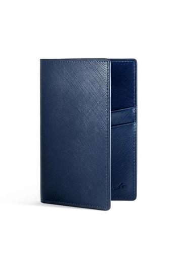 Crudo Leather Craft blue Passport Holder - Saffiano Blue FF32CAC5D10367GS_1