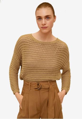 Mango brown Openwork Sweater BC77AAA16B441CGS_1