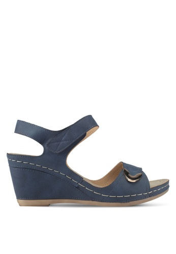 Louis Cuppers navy Wedge Sandals B6E11SH00BF837GS_1