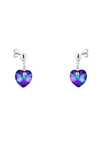 施華洛世奇水晶紫心 925 純銀耳環esprit home 台灣, 飾品配件, 耳釘