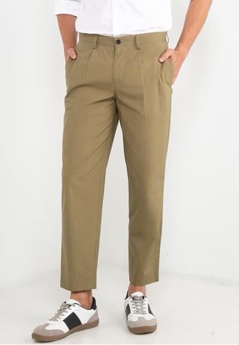 Ben Sherman green Poplin Relaxed Taper Pleats Trousers 24660AA053C377GS_1