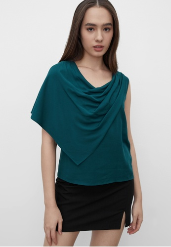 Pomelo green Sustainable Draped Effect Top - Green 9D62DAA38A1183GS_1