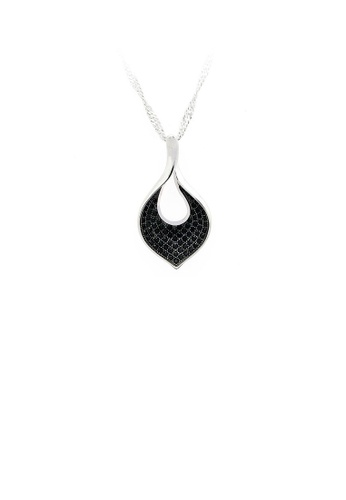 Glamorousky silver 925 Sterling Silver Leaf Pendant with Black Cubic Zircon and Necklace 97D31AC79EA251GS_1