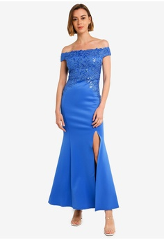 561c7d99e95d Lipsy blue Bardot Sequin Embellished Maxi Dress 0DF55AAFA0AD2EGS_1