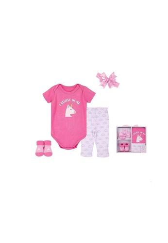 Little Kooma pink Hudson Baby New Born Baby 4 Piece Layette Gift Set Unicorn 18424 CAB70KC8330AECGS_1