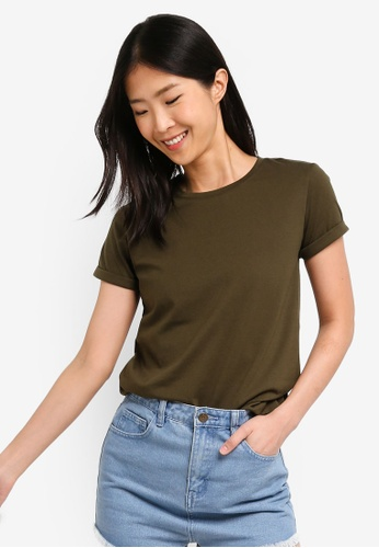ZALORA BASICS green Basic Rolled Sleeves Crew Neck T-Shirt E66D7AA04D66B3GS_1