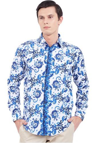 Flike Batik blue Kemeja Batik Tangan Panjang Motif Gentongan Biru C2D0DAA86A62C9GS_1